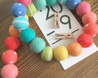 Just Add Sunshine Felt Pom Bunting | Rainbow Felt Ball Garland
