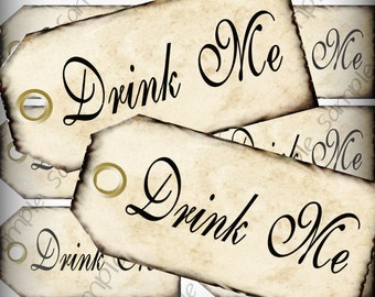 Drink Me Favor Tags Digital Collage Sheet DIY Weddings Alice In Wonderland Printable Instant Download