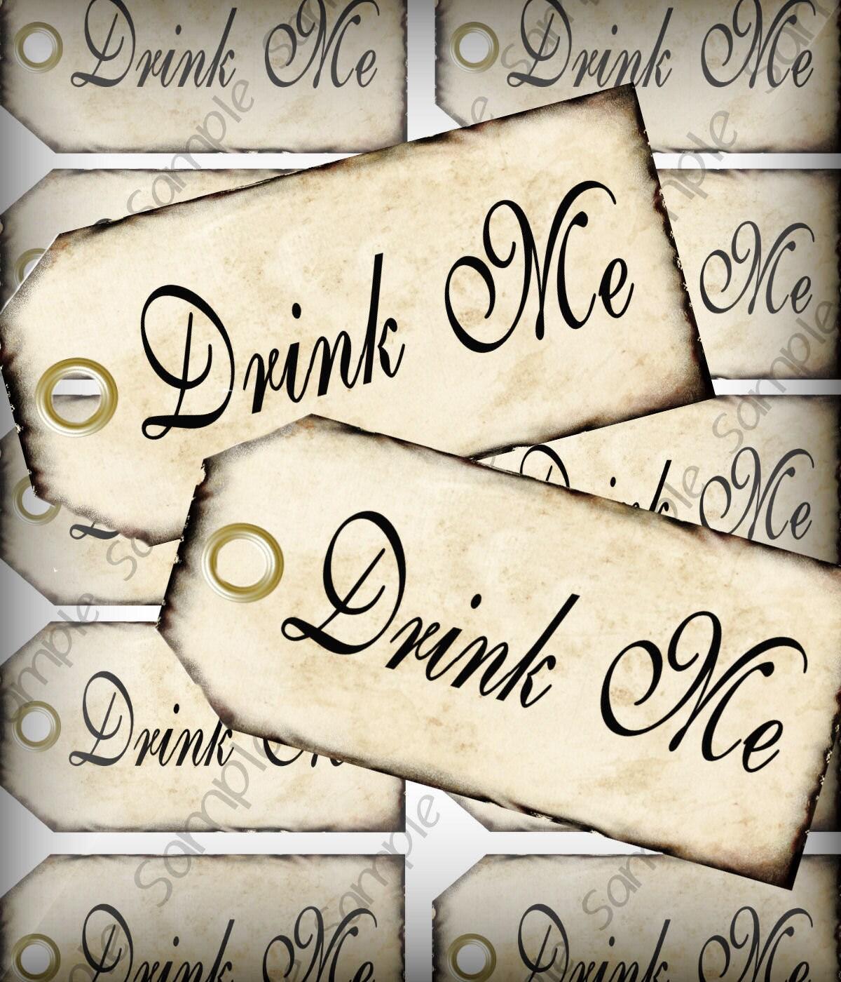Drink Me Favor Tags Digital Collage Sheet DIY Weddings Alice In ...
