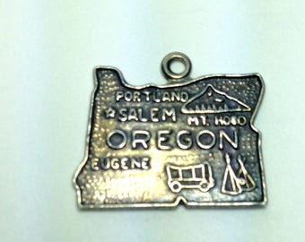 Sterling Silver 925 Charm Pendant OREGON STATE Charm 17mm