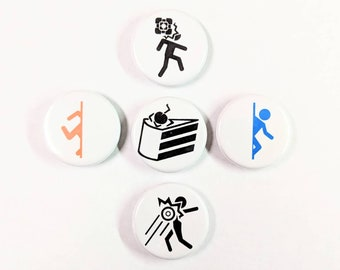 """5 Pack 1.25"""" Portal / Portal 2 Valve Pin-back Buttons or Magnets featuring Orange and Blue Portals, Cake Is A Lie, and test hazards!"""
