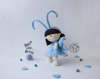 Amigurumi doll Butterfly Crochet pattern PDF cute pattern Instant download Amigurumi Butterfly Crochet doll tutorial Petite doll