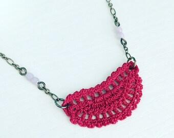 Mini Addison Crochet Necklace in Raspberry, Lace Doily Pendant, Dark Pink Curve Pendant, Tiny Crochet, Rose Petal, Bridesmaid Gift, Pretty
