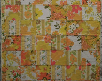 modern patchwork squares baby blanket vintage sheet heirloom keepsake quilt - creamsicle - orange, white, green, yellow