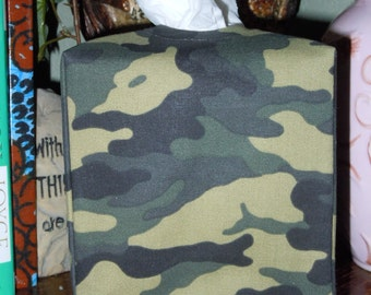 Fabric Tissue Cover - Camouflage of Dark Greens -  Ready To Ship