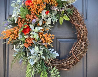 Spring Wreath, Colorful Wreath, Orange Door Wreath, Spring Door Decor, Gift for Her, Floral Wreath, Housewarming Gift, Pretty Wreaths