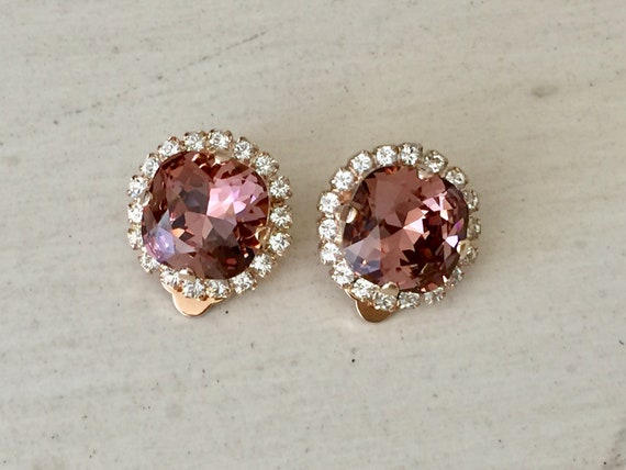 Blush Rose & Clear Swarovski Crystal Clip On Earrings, Rose Gold