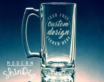 Custom Beer Mug - Etched Beer Mug with Free Custom Design - Personalized Beer Mug - Etched Glass Beer Mug