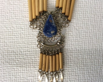 Vintage Necklace - lapis lazuli with hand-tooled wire and bamboo cylinder beads