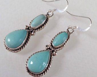 Native American Navajo Turquoise Sterling Silver Dangle Earrings