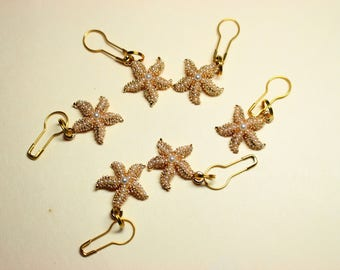 Set of Convertible Knitting and Crochet Stitch Markers in Metal Pearly Starfish