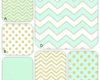 Mint, White and Gold Metallic Custom Crib Baby Bedding Set YOU DESIGN - Glitz in Mint