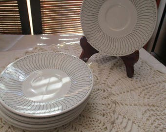 J and G Meakin Scraffito Retro Vintage Saucer Plates  (set of Six)