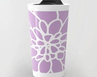 Dahlia Travel Mug - Coffee Mug - Modern Flower Travel Mug - Lavender Purple - Aldari Home