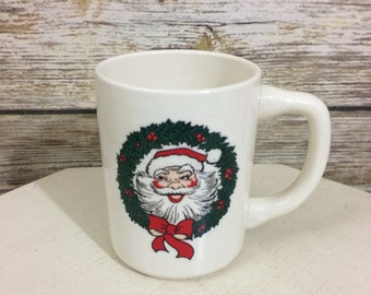 Vintage USA Pottery Santa Claus Coffee Mug, Santa Claus Mug, Vintage Christmas, Candy Cane Holder