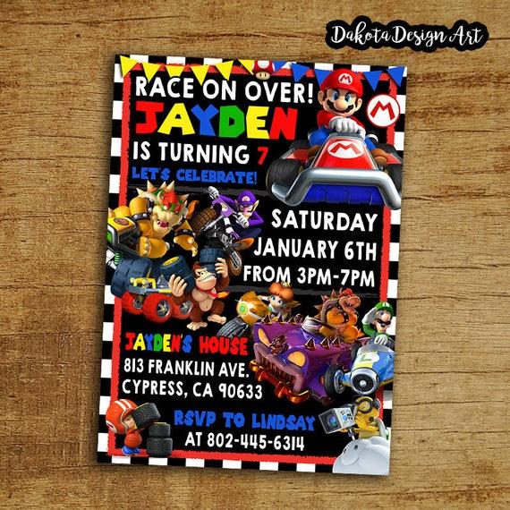 Mario Kart Birthday Invitation Mario Kart Invite Mario Kart