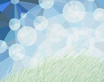 I'll Meet you There art print, geometric art, sunlight particles, sky sparkles, grassy field