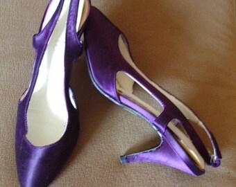 Purple Satin Pump Sling Back  Size 6 1/2 B Like New Item #35   Shoes & Boots