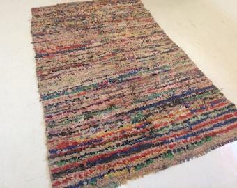 Vintage Moroccan Boucherouite Moroccan rug