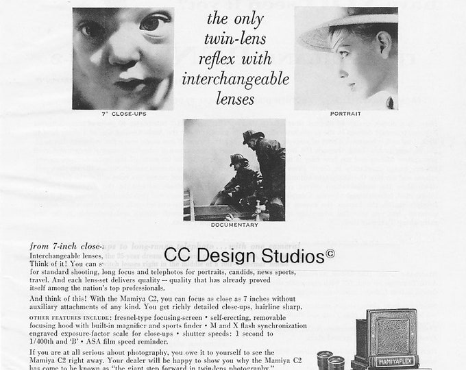 Vintage Mamiya C2 TLR Magazine Advertisement 1960 - Collectible Film Photography Ad - Twin-Lens Reflex Camera - Approx. 11 x 8 inches