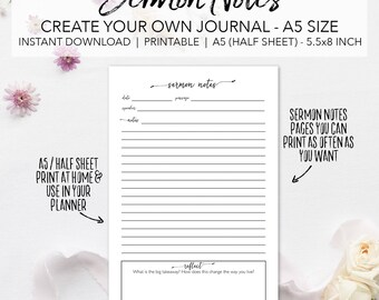 Sermon Notes Printable Planner Pages - Create Your Own Sermon Journal - INSTANT DOWNLOAD Bible Church Study Notes A5 Size Half Sheet 5.5x8.5