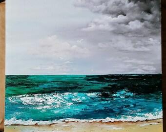 24 x 24 acrylic seascape clouds stormy sky