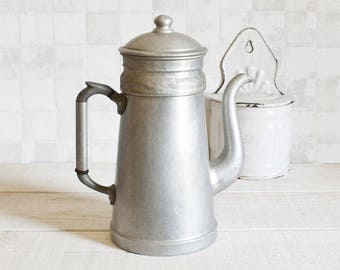 Large Vintage French Aluminum Coffee Pot    Industrial Home Decor - Country style - French Farmhouse