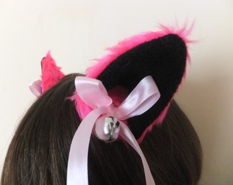 Hot Pink Black Furry Cosplay Cat Neko Ears Ribbons Bows Bells Hair Clips Kawaii Halloween Costume Festival Fursuit Cute Fuschia Cerise
