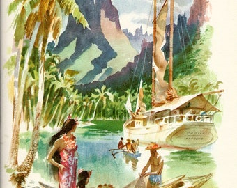 SS Lurline Matson Ship Vintage Watercolor, Papeete, Tahiti, Collectable Menu to Frame or to use in your Travel Journal & Paper Arts PSS 3126