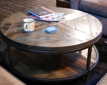 Industrial Round Wood Coffee Table, Two Tier Table, Wood Furniture Rustic, Industrial Furniture, Round Table, Rustic Table, Coffee Table