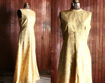 70s gold lace maxi dress - sleeveless gown - brocade - empire waist - 60s mod mad men - fancy floral long dress - formal - medium large
