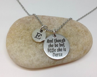 And Though She Be But Little She Is Fierce Personalized Initial Necklace Personalized Bracelet, She believed she could so she dis