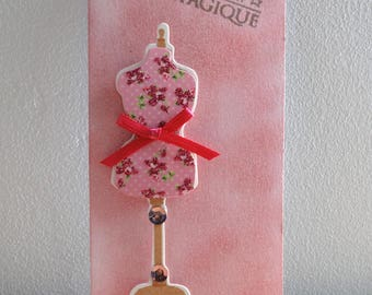 Pink bookmark with reflections golden - dream and sewing theme