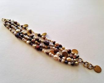 Freshwater pearl multistrand bracelet
