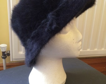 Vintage Hat 45% Rabbit Hair, St. Michaels, one size Lovely Fluffy Soft Hat with Brim