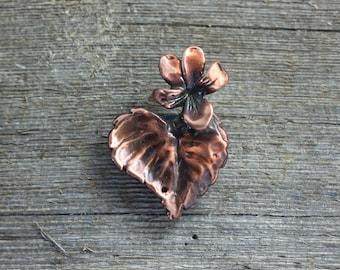 Wood Violet copper brooch