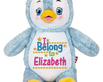 Personalized Stuffed Animal, Cubby Penguin, Plush Toy, New Born Baby Gift, Shower Gift