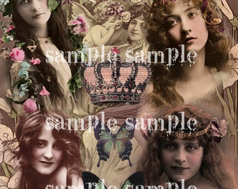 instant Digital Download COLLAGE SHEET Beautiful Vintage Victorian Women Printable Antique Photograph Boho Shabby Chic Gypsy Witch