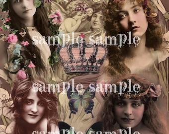 sofortiger digitaler Download COLLAGE Blatt schöne Vintage viktorianischen Frauen druckbare antike fotografieren Boho Shabby Chic Gypsy Hexe
