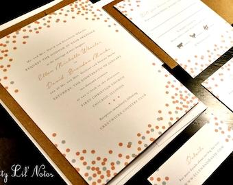 Sparkle Glitter Party Custom Unique Wedding Invitation Spring Summer Fall Winter Confetti Modern Fun Ombre Gray Coral Pink