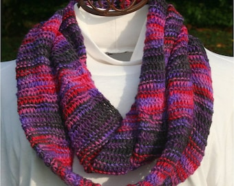 Hand Knit Infinity Scarf in Blue, Purple and Red
