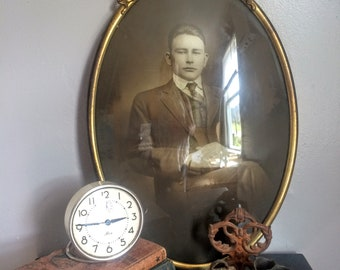 Vintage Dapper Gentleman Portrait in Oval Ornate Frame Antique Portrait of Young Man