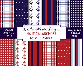 NAUTICAL Digital Backgrounds - INSTANT DOWNLOAD - Preppy Plaid, Anchors, Stripes, Navy, Red