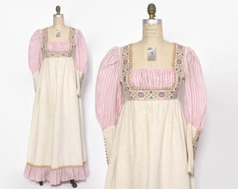 Vintage 60s GUNNE SAX Dress / 1960s Rennaisance Style Floral Maxi Dress S