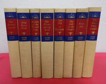 Vintage Zane Grey 8 Book Collection Collector's Quality
