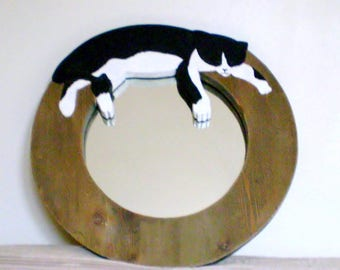 Mirror carved and hand painted wooden cat