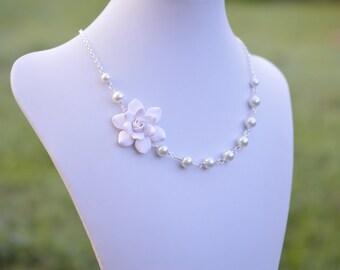 FREE EARRINGS White Gardenia Necklace, White Flower Necklace, White Bridal Necklace, White Wedding Jewelry, Gardenia Jewelry