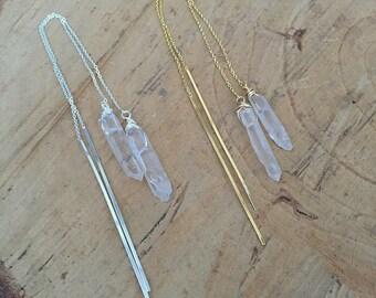 Quartz Threader Earrings