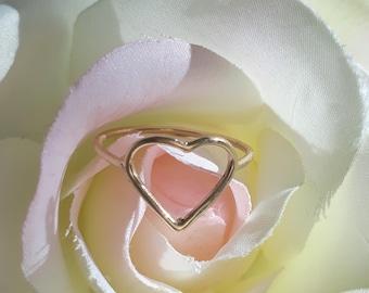 Wire Heart Ring, 14k Gold Heart Ring, Gold Heart Ring, Heart Ring, 14k Gold Heart Ring, 14k Gold Love Ring, Gold Heart Promise Ring