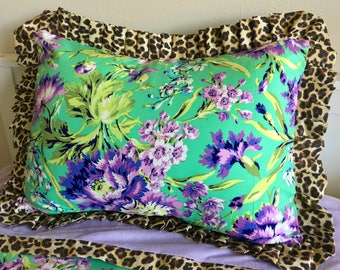 Purple Floral Standard Sham, Beautiful Standard Shams, Leopard Sham, Lavender Standard Sham, Girl Bedding, Twin Bedding, Queen Bedding